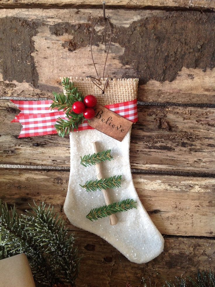 White Burlap Christmas Stocking Ornament by 132