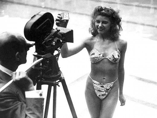 The first bikini, 1946; Introduced by French engineer Louis Réard and fashion designer Jacques Heim in Paris.