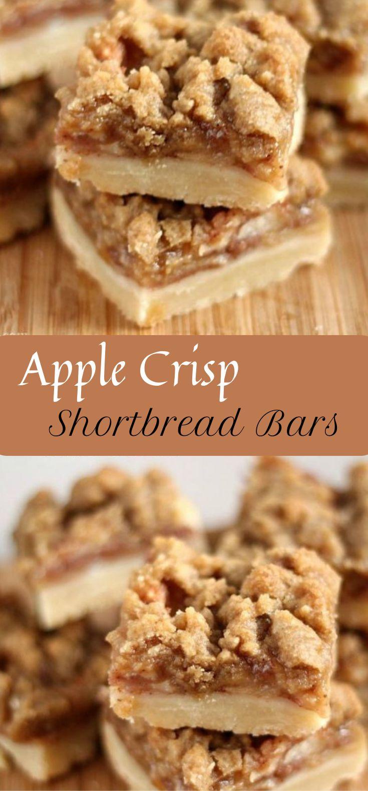 APPLE CRISP SHORTBREAD BARS #apple #cakebars