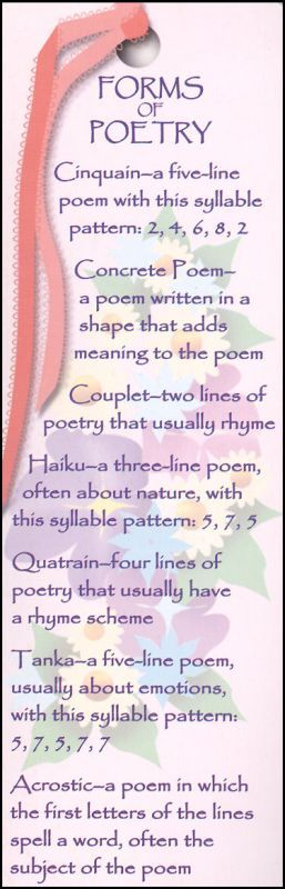 Forms and structure of different types of poems: Cinquain, tanka, haiku, quatrain, concrete