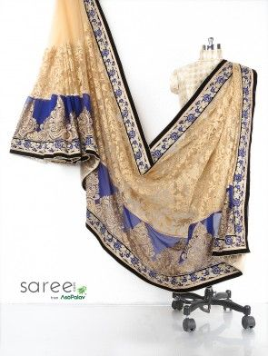 Blue and Cream Net Saree with Cutdana Work