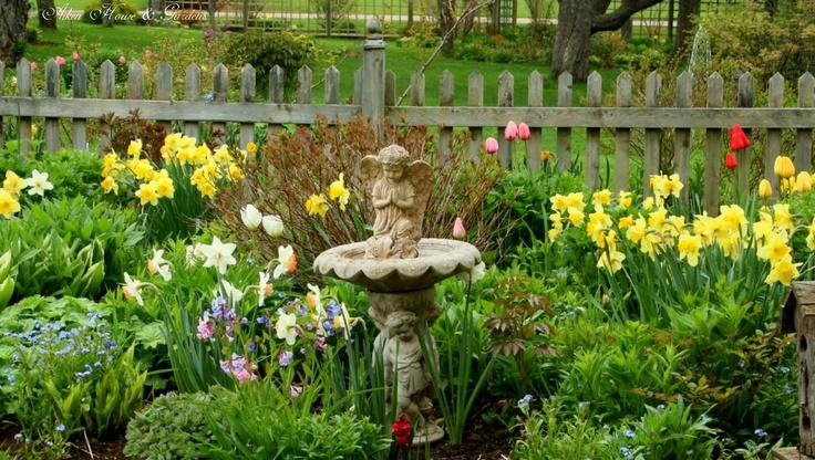Lovely Spring Garden Hmm Little Praying Angel In The Bird Bath Might Look Cute