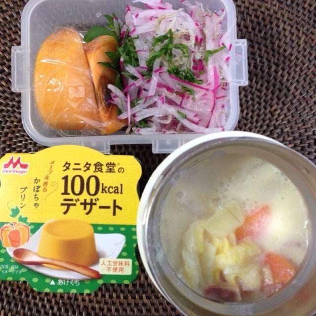 *白菜とベーコンの豆乳スープ *大根とちりめんじゃこのサラダ *かぼちゃプリン *柿 今日は会社にパン屋さんが来るで、スープとサラダ。 ダイエットじゃないよ^_^ - 10件のもぐもぐ - 白菜とベーコンの豆乳スープ弁当 by naomio0123