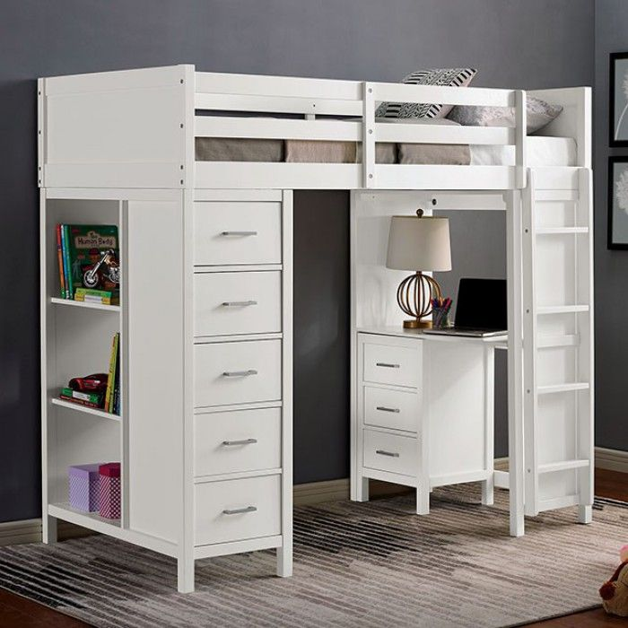 Cm Bk970 Cassidy White Finish Wood Twin Loft Bunk Bed With Bookcase Desk And Drawers In 2020 Twin Loft Bed White Loft Bed Loft Bed