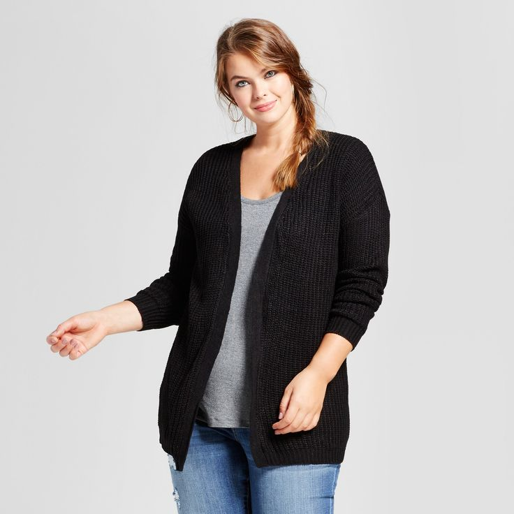 Women's Plus Size Slouchy Lace Up Back Cardigan - No Comment - Black 1X