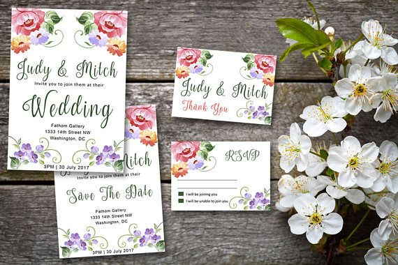 Dreams Do Come True,  Wedding Printable Suite, RSVP, Thank You, Wedding Invite, Floral Swirls