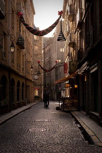 A Street in St. Malo, Northern France - went here twice on school holidays between 1959-1961!