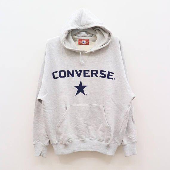 da30b3d059a51 Vintage CONVERSE ALL STAR Chuck Taylor Big Logo Gray Hoodies Sweater ...