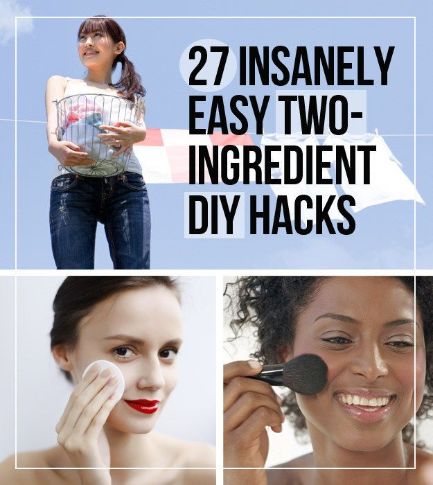 27 Insanely Easy Two-Ingredient DIYs - lipgloss, hair mask, polish remover, furniture polish, chalkboard paint, etc.