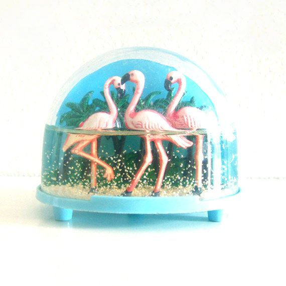 Vintage Snow Globe Plastic Pink Flamingos. Etsy