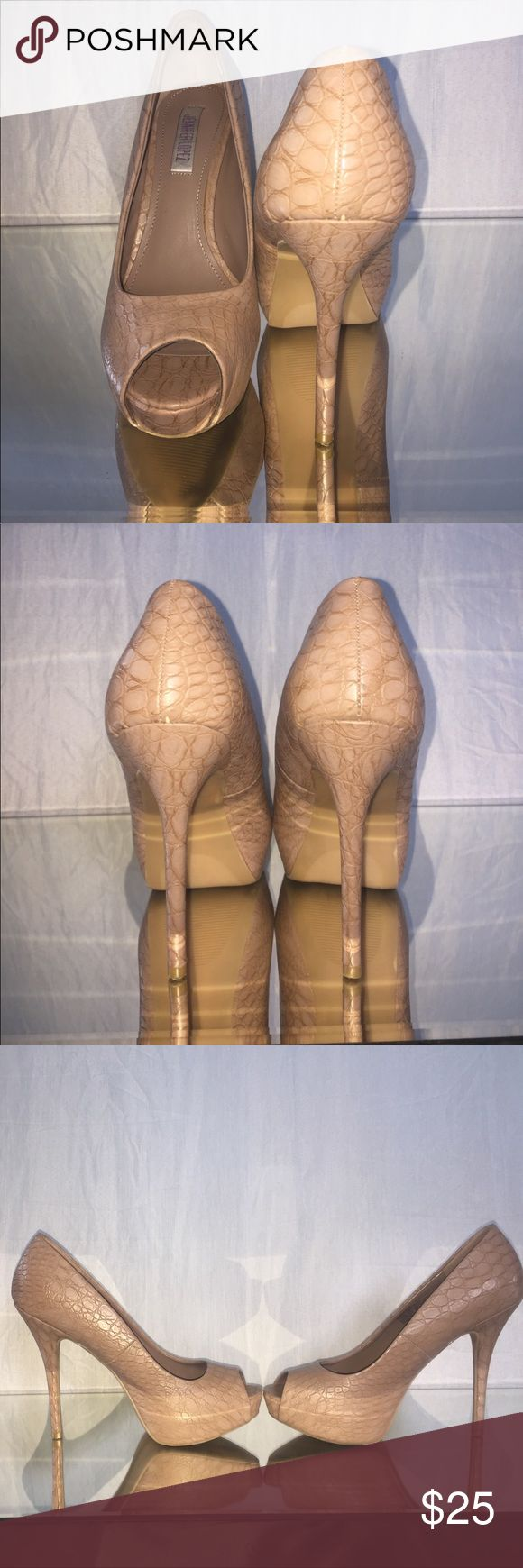 Sexy nude leather Jennifer Lopez heels Sexy nude leather Jennifer Lopez heels. A great staple for any fashionista. They are a nude blush color, but they are so pretty y'all! Very sad to see these go but due to back issues I can no longer wear heels of this height. Worn only one time, only scuffs are located on the left shoe but not noticeable when wearing. Jennifer Lopez Shoes Heels