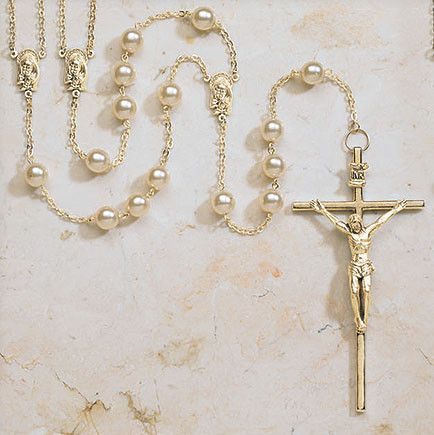 Lasso Rosary For Catholic Wedding Gold Tone And Pearl – Beattitudes Religious Gifts
