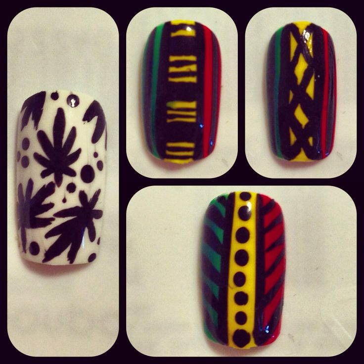 Rastafarian nail art! Rasta nail art! Cute! Leaf nail art. 420 cute nail art! One love.