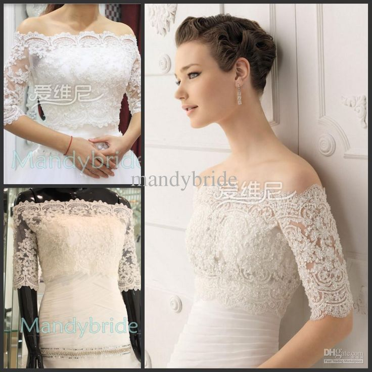 Wholesale Mother of the Bride Dress - Buy Vintage Off-Shoulder Short Sleeves Lace Appliques Beaded Bolero Wedding Jackets Bridal Wraps, $33.09 | DHgate