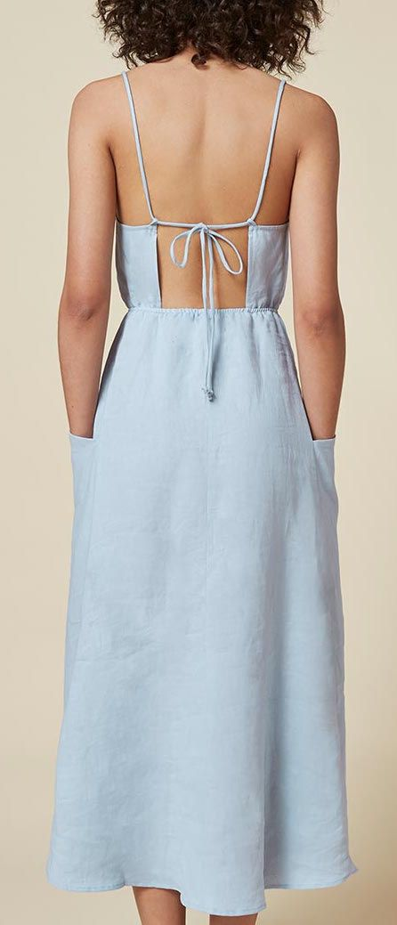 Reformation powder blue open back ankle length linen dress back
