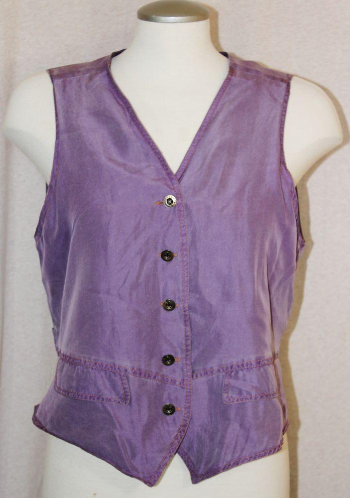Oleg Cassini Womens Size Small Silk Vest Purple Waistcoat Sleeveless #OlegCassini