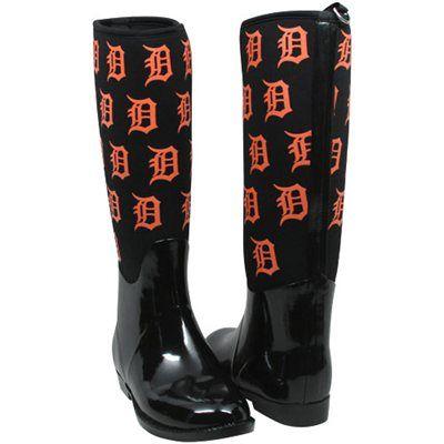 Cuce Shoes Detroit Tigers Womens Enthusiast II Rain Boots - Black. I want these soooo badly! detroittigers.com ladyfanatics.com