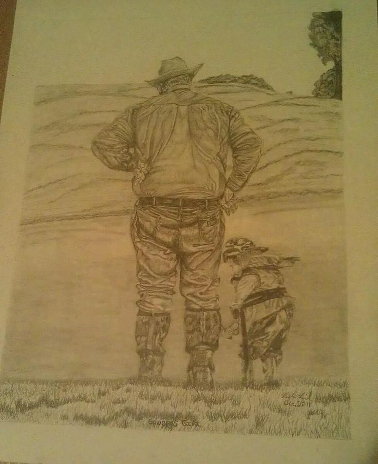 """Grandpas girl"" Pencil art by Vicki Lind"