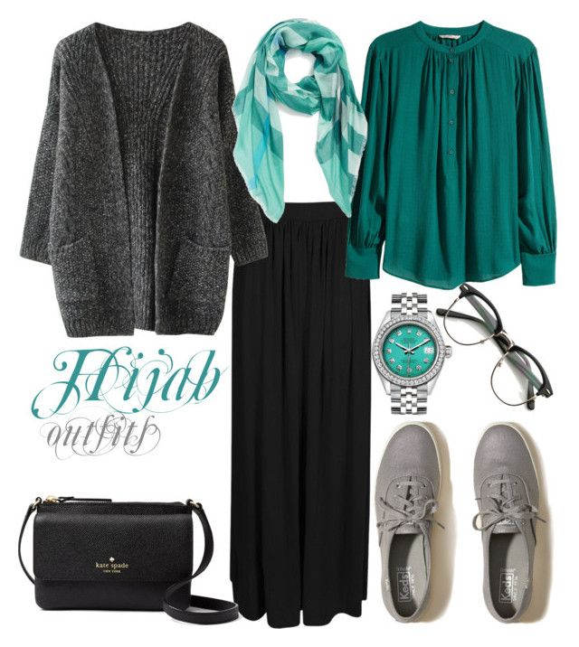 """#Hijab_outfits #Casual"" by mennah-ibrahim on Polyvore featuring Boohoo, H&M, Burberry, Hollister Co., Kate Spade and Rolex"