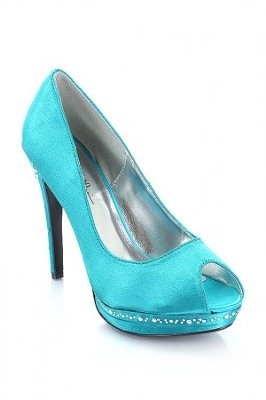 Teal Wedding Shoes With Peep Toe