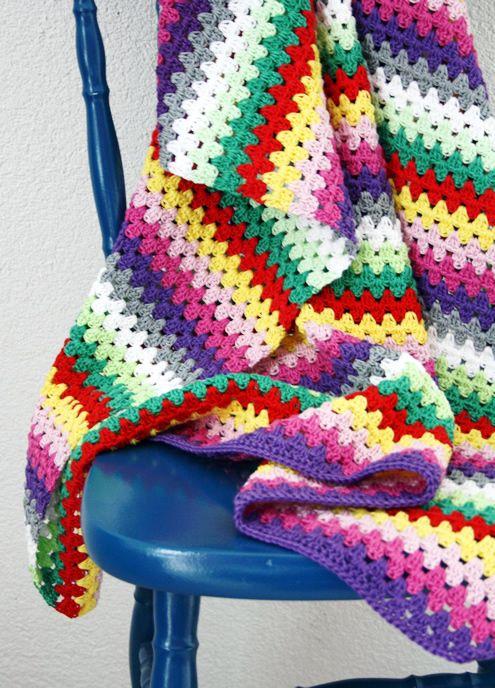 Crochet Pattern For Granny Stripe Baby Blanket : Granny stripe crochet baby blanket Crafty Things Pinterest