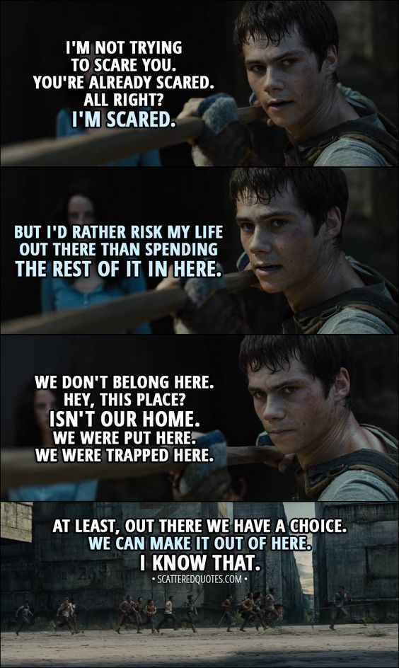 Maze Runner Quotes | Quote From The Maze Runner 2014 Thomas I M Not Trying To Scare
