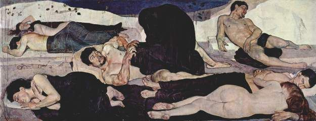 1889-1890: Ferdinand Hodler: The Night [Symbolism/Art Nouveau; Switzerland] Swiss Symbolist Ferdinand Hodler's best known painting, The Night, shows a nude man (a self-portrait of the artist) expressing terror as he wakes to find a black hooded figure, perhaps Death, crouching before him. Around this central event (or nightmare) are seven nudes, three men and four women, sleeping in a rocky outdoor landscape. At least one of the men appears to be another self-portrait of Hodler.