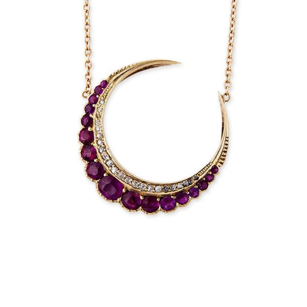 GRADUATED RUBY & PAVE DIAMOND CRESCENT MOON NECKLACE AVAILABLE IN: 14K…