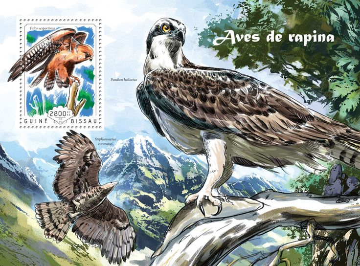 Post stamp Guinea-Bissau GB 14610 b	Birds of prey (Falco vespertinus)