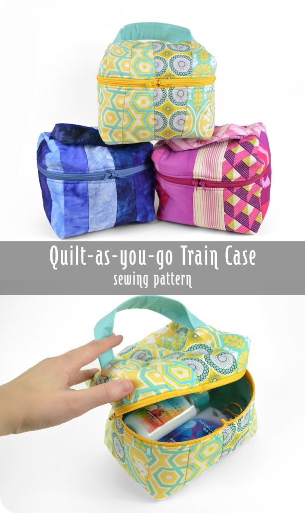 Free tutorial: A handy train case, but simplified! Using qayg construction and no curved seams #diy #sewing