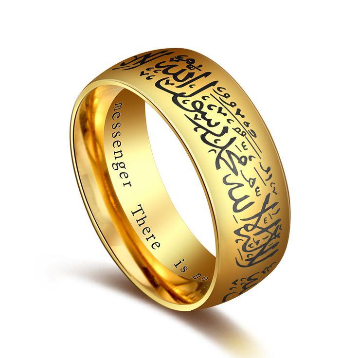 Musulmano Allah Shahada Un Anello In Acciaio Inox per Le Donne uomini Islam Arabo Dio Messager Nero Fascia D'oro Muhammad Corano medio