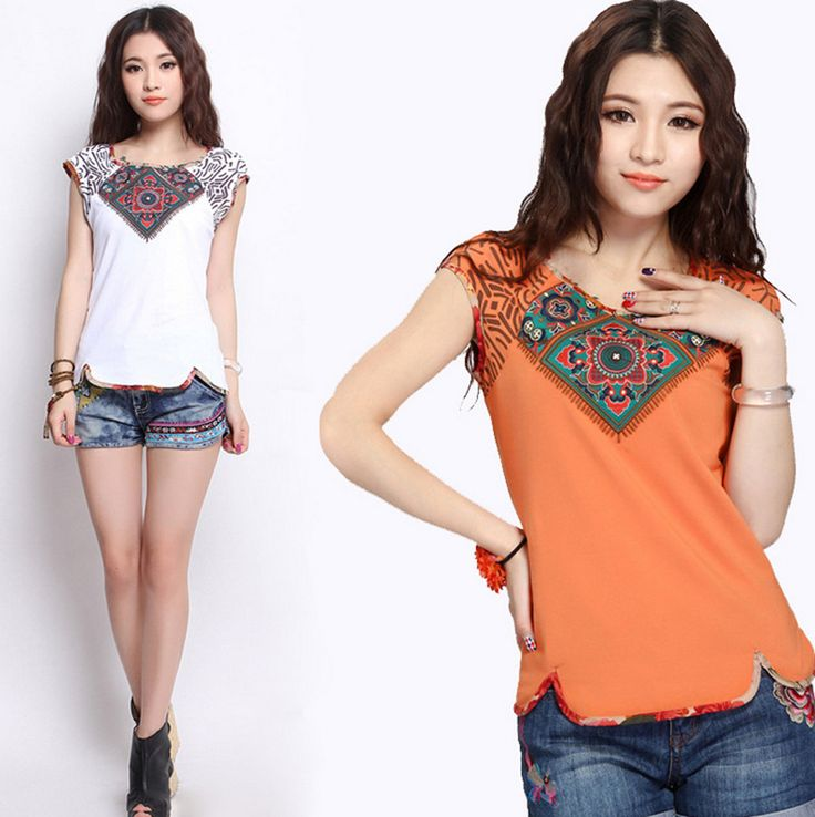 2017 ethnic t-shirt for women female vintage o neck short sleeve orange white cotton t shirt top Traditional Chinese clothing