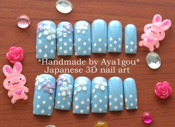 Japanese nail art polka dots pastel blue long nails 3D by Aya1gou, $18.50