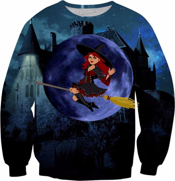 Witch and Blue Moon #rageon #erikakaisersot #sweatshirts #fairytales