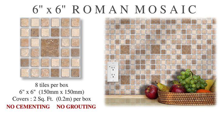 "6"" x 6"" Roman Mosaic Stick and Go Tile"