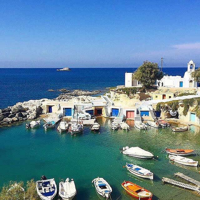 The colorful Mandrakia village , at Milos island (Μήλος)❤️. A traditional small fishing village which is so picturesque !