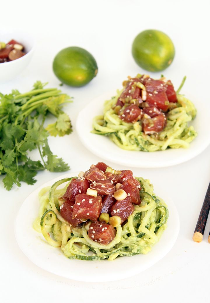 Ahi Tuna Poke Bowls with Avocado and Cucumber Noodles (sub coconut aminos for Paleo/Whole30)