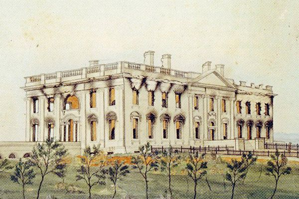 White House - 1814 Madison Reconstruction: 1814-1817 In 1814, during the War of 1812,. the White House was gutted, leaving only the exterior walls standing. President James Madison pledged to restore the White House just as it was. Original architect James Hoban returned to supervise the reconstruction. Restoration was completed in 1817 under President James Monroe, who furnished the house in fashionable style.