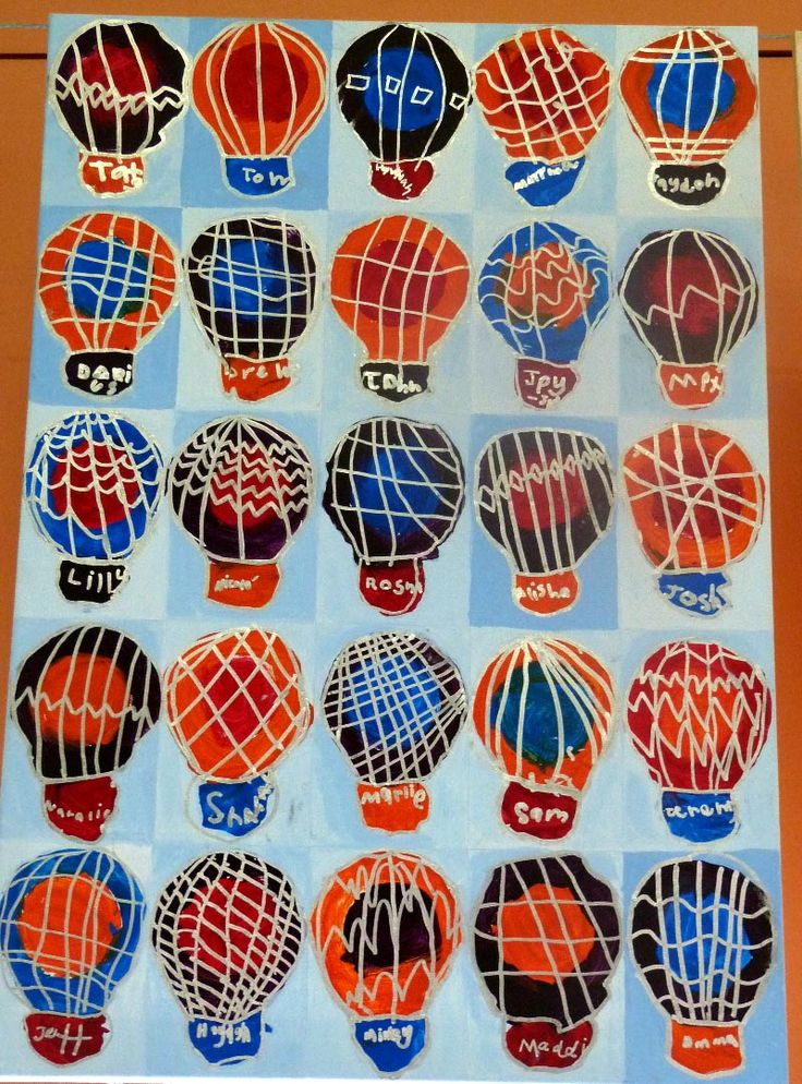 Class Canvas - Book Week 2015 - Hot air balloons with each student's patterning and name. Prep year