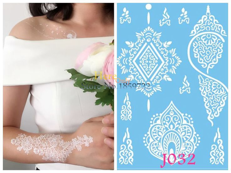Princess-Tattoo-White-Henna-temporary-tattoos-stickers-holy-and-pure-tattoos-fake-waterproof-tattoos-INNOCENCE-for.jpg (800×600) -- idea for tangle drawing