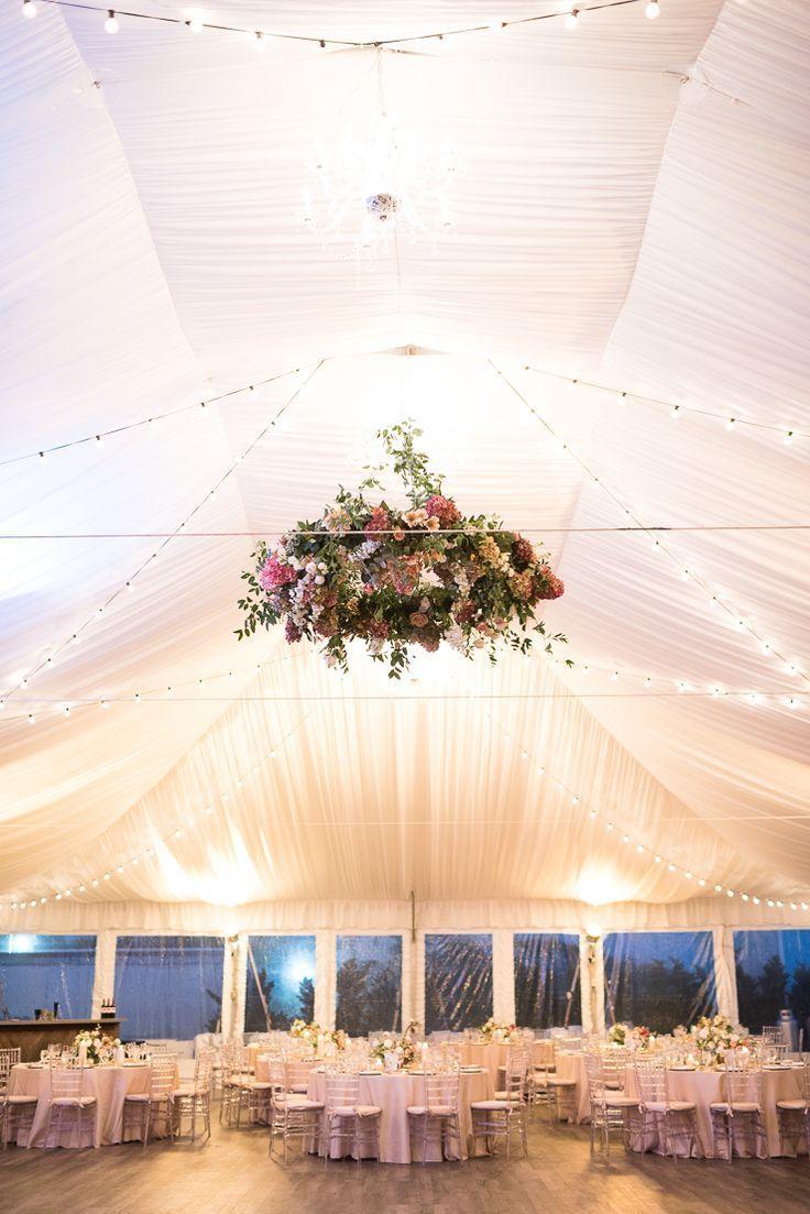 Hanging Flower Display Wedding Reception Decor. Tented Wedding Reception at Gurn…