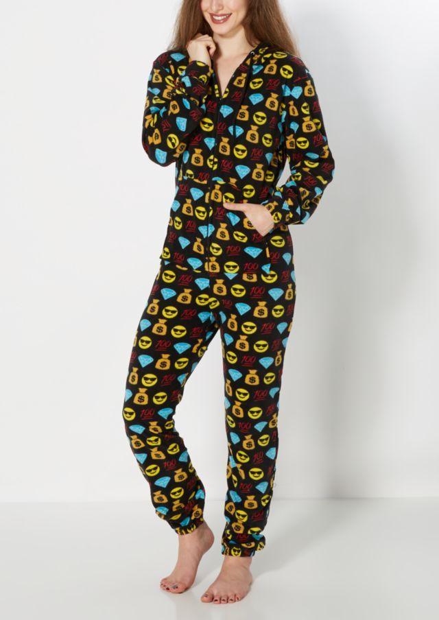 image of 100 Emoji Hooded Fleece Onesie