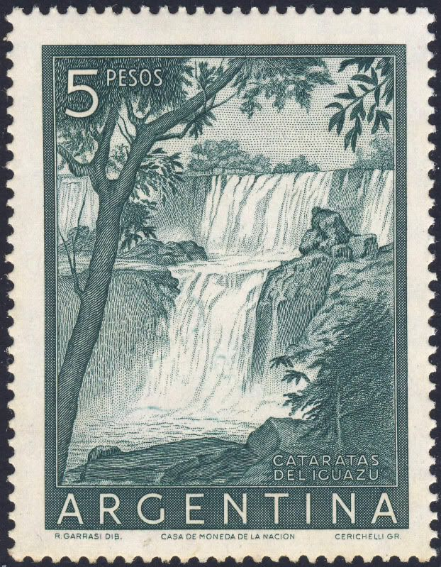 #Año1955 #Estampilla #Argentina de $ 5 Pesos Iguacu Falls