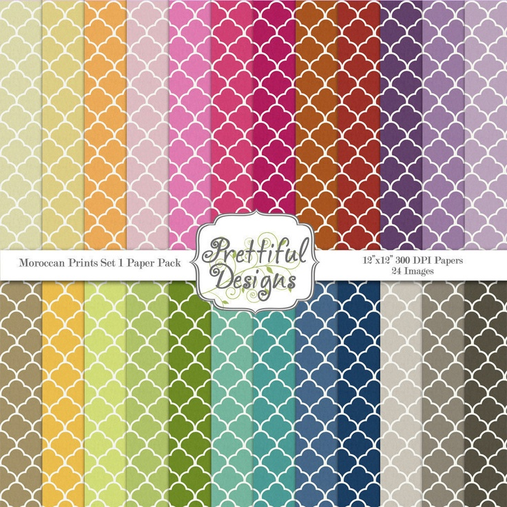 Moroccan Prints Digital Paper Pack  - Personal and Commercial Use - Set 1. $3.75, via Etsy.