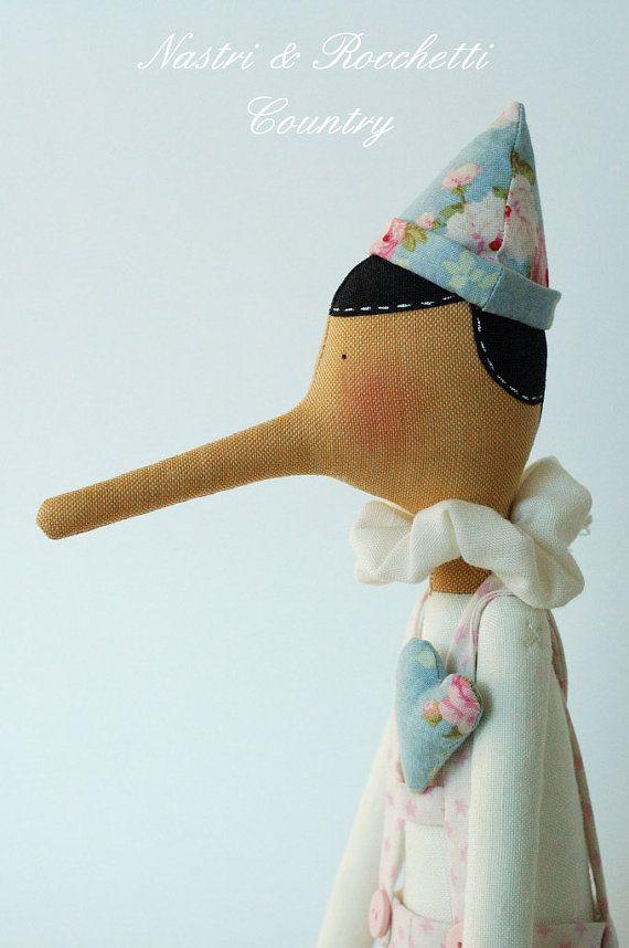 Tilda #Pinocchio by Nastrierocchettishop on Etsy, €60.00 - divine and #fairytale style #doll.