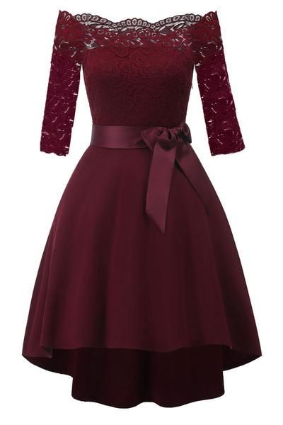 Burgundy Lace Off-the-shoulder High Low Prom Dress ekkor  2019 ... a5ea1b8839
