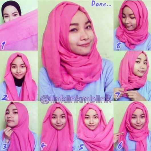 Simple daily hijab for hangout, working or going to collage tutorial hijab by Linklinkmblink (instagram/twitter)