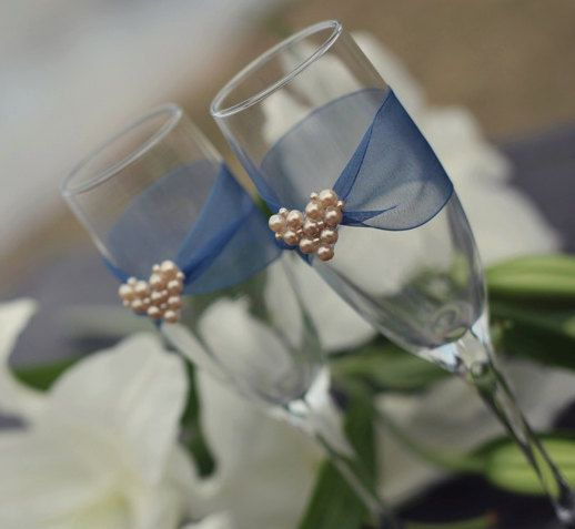 Crystal and Pearl Champagne Flutes