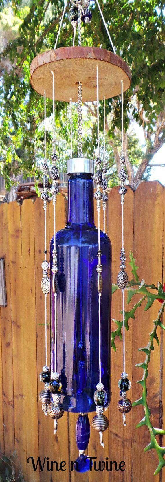 Blue bottle wind chimes