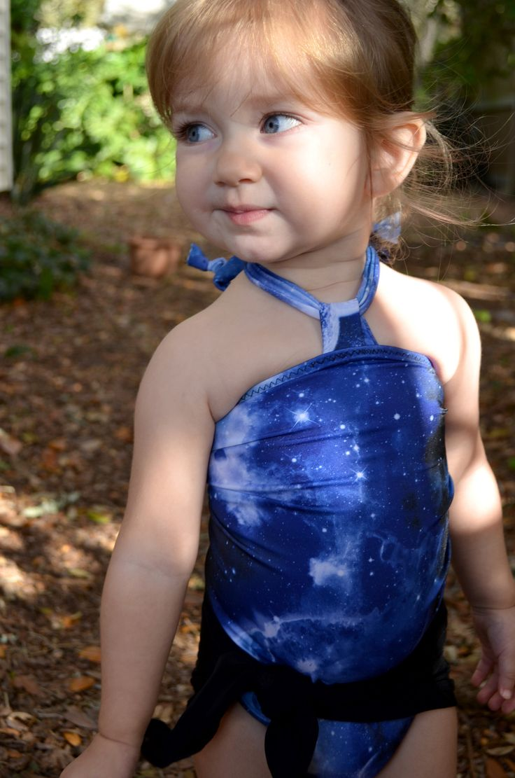 Baby Bathing Suit Blue Galaxy with Black Wrap Around Swimsuit Toddler Girls Swimwear